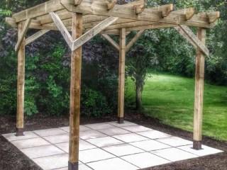 Wooden Pergola with Slab Floor -Landscape Gardeners Lincolnshire